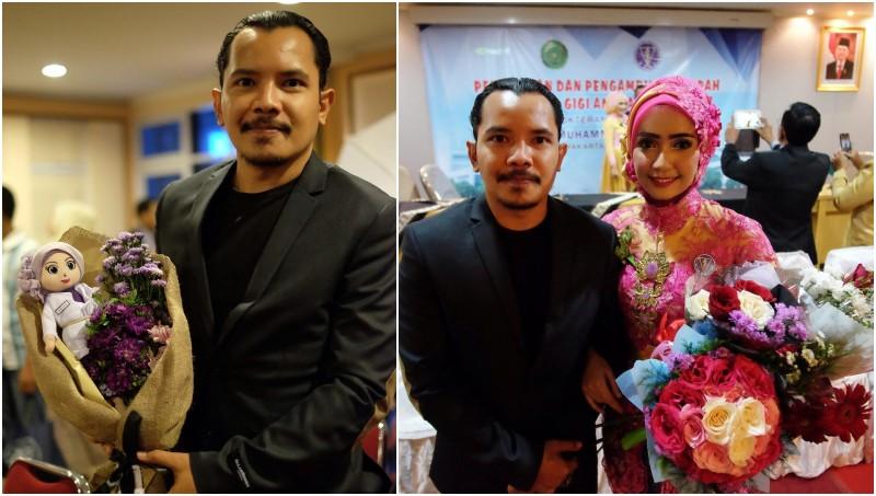 Cella Kotak hadir saat Carolyna Dewi resmi jadi dokter gigi