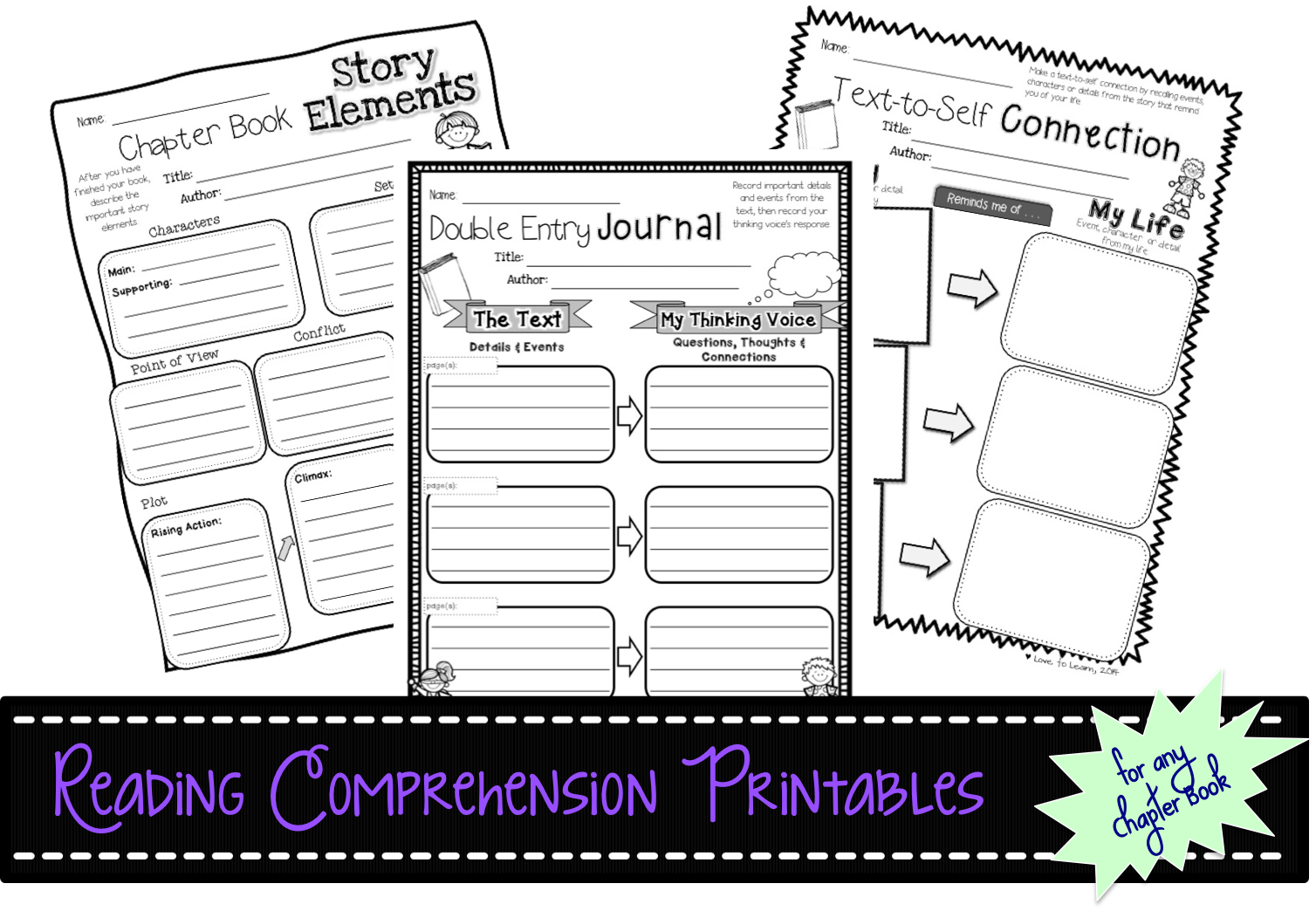 Love To Learn Reading Comprehension Printables For Any Chapter Book