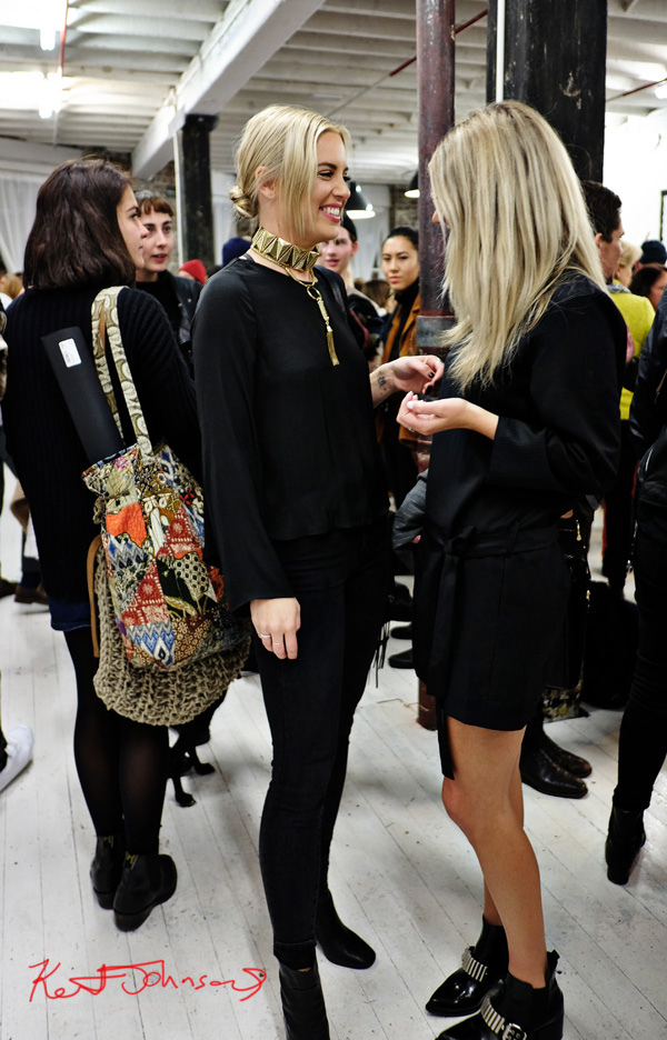 All black outfits with chunky gold geometric chocker. Hippie tote bags.. Photo by Kent Johnson for Street Fashion Sydney.