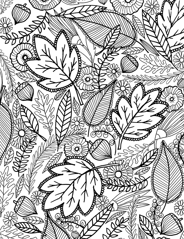 leaf coloring pages for adults - photo#2