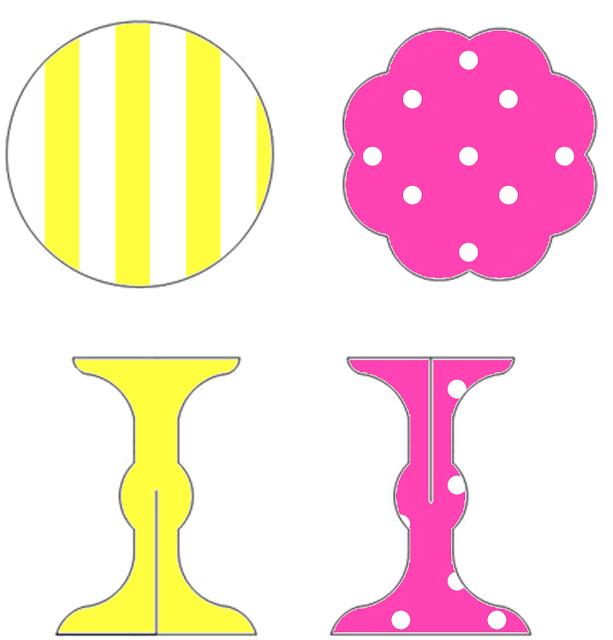Rosado y Amarillo: Stands para Cupcakes para Imprimir Gratis.