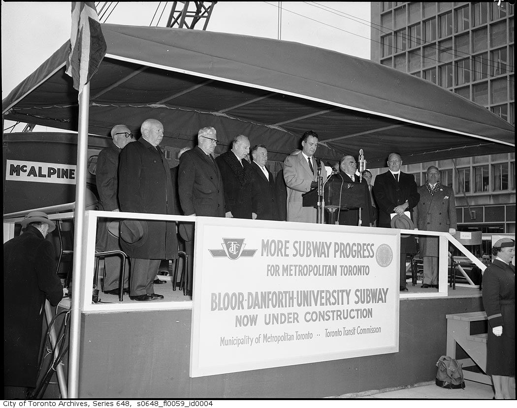 1959 official ceremony for the start of construction on the Bloor-Danforth-University line