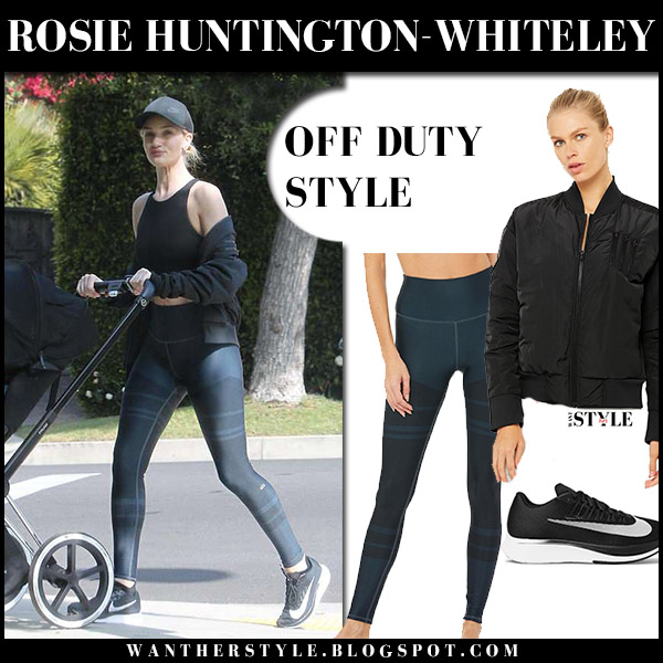 Rosie Huntington-Whiteley in black jacket alo yoga, leggings and sneakers nike model casual style april 25