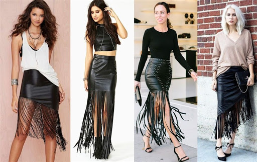 black leather fringe skirt