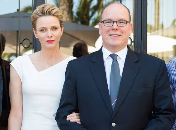 Princess Charlene wore Roland Mouret Darlington Dress. Prince Albert and Princess Charlene of Monaco attended the drawing of lots for Rio 2016 Olympic Games at the Hotel Hermitage of Monte Carlo.
