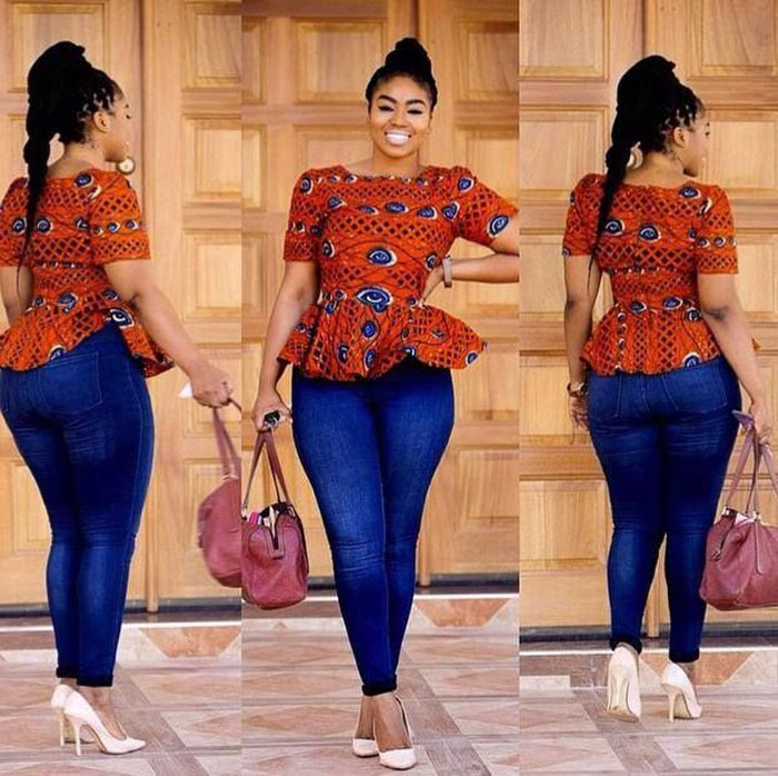 ankara blouse and blue jeans (2)