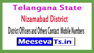 Nizamabad District Officers and Others Contact  Mobile Numbers In Telangana State