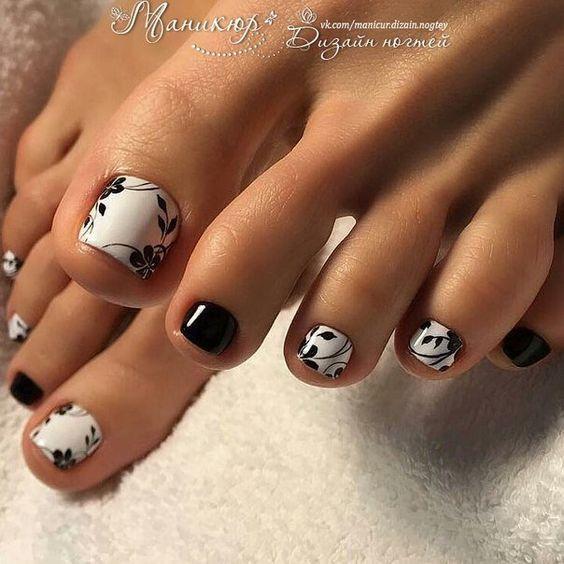 uñas decoradas para pies sencillas