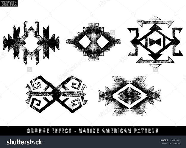 Grunge Effect Navajo Aztec Vector Pattern Set
