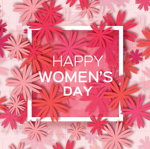 Womens Day 8 March holiday background with paper flower free vector