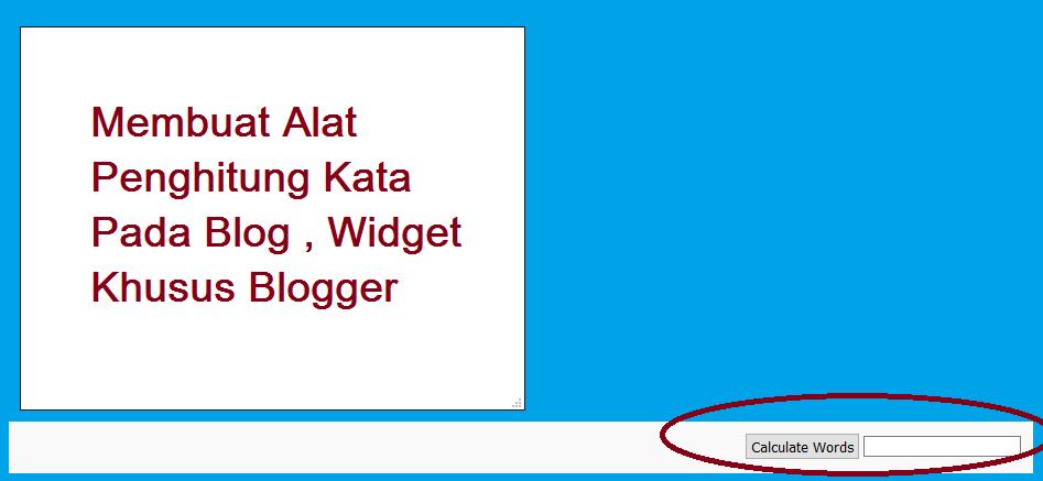 Membuat Alat Penghitung Kata Pada Blog , Widget Khusus Blogger