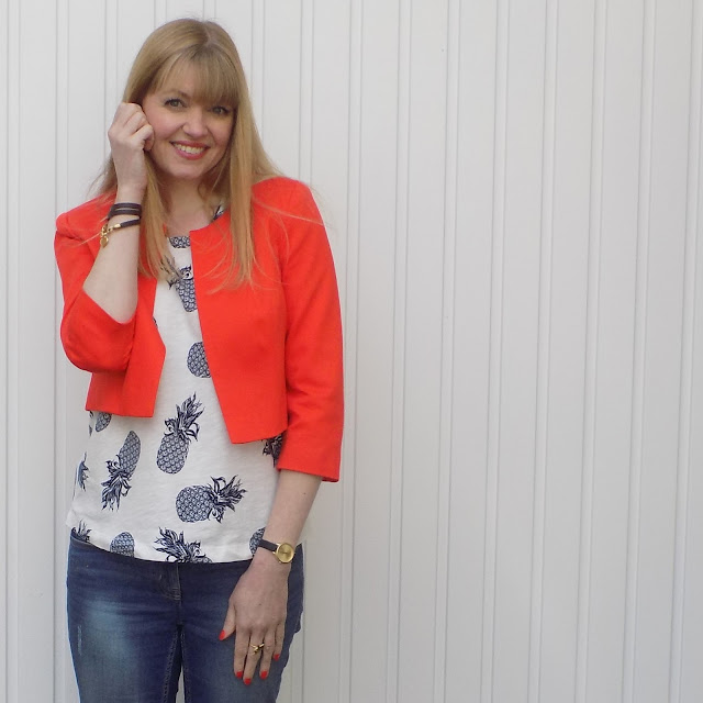 Pineapple top, bright orange cropped jacket, over 40 fashion