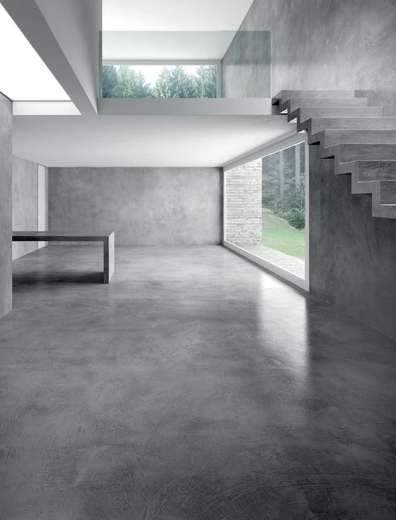 Polished concrete interior