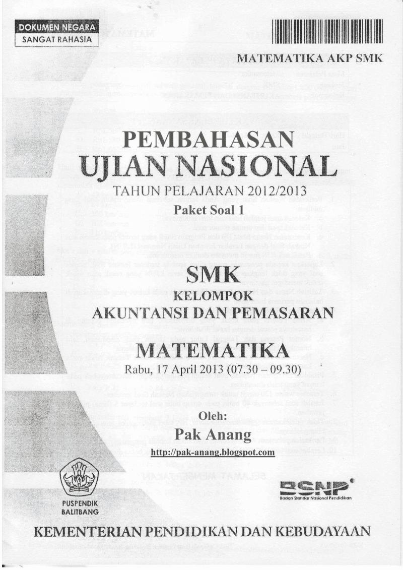 Pembahasan Soal Un Matematika Smk Akp 2013 Trik Superkilat Paket 1 1xdeui