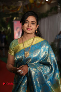 Actress Indraja Stills in Blue Silk Saree at Shatamanam Bhavathi Audio Launch  0024.JPG