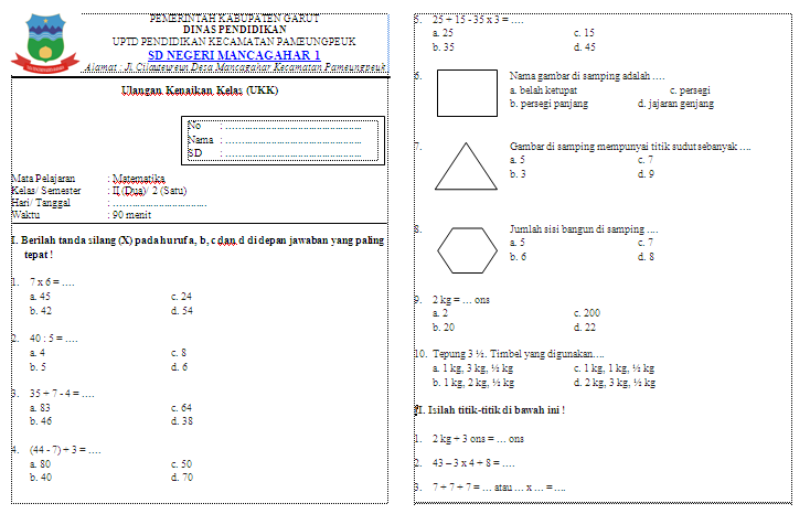 Soal Ukk Matematika Kelas 2 Sd Soal Soal Siswa