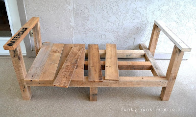 how to build a pallet wood outdoor furniture sofa Funky Junk Interiors