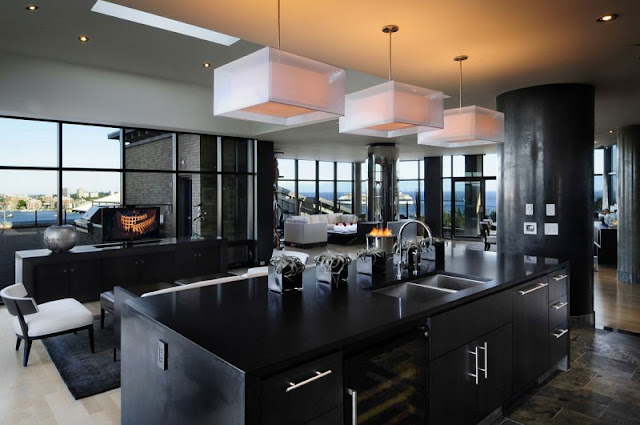 Picture of modern black kitchen island