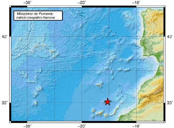 Terremoto en Atlántico Canarias, magnitud 3,6 grados