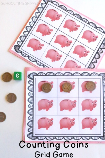 Fun Printable Grid Game to teach your preschooler about money!  3 Ways to Play!
