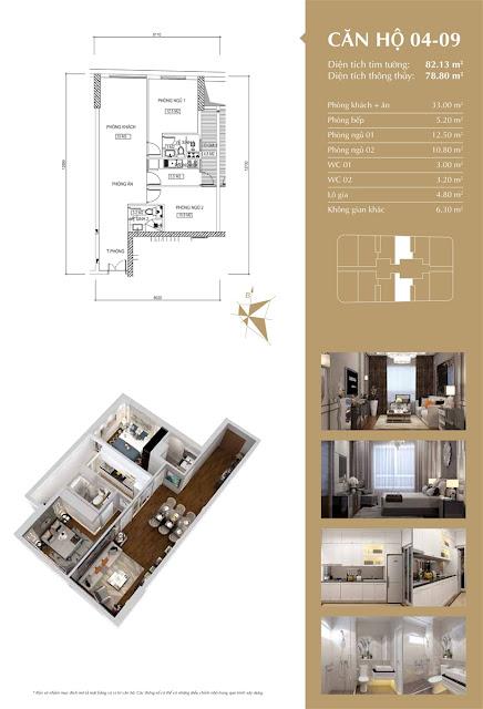 Thiết kế căn hộ 04-09 tòa IP1, diện tích 78m2, 2 phòng ngủ