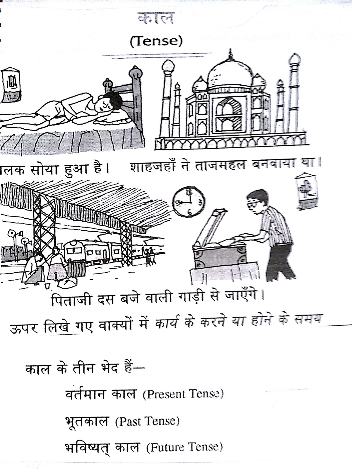 Hindi Grammar Kaal Worksheets For Class 5