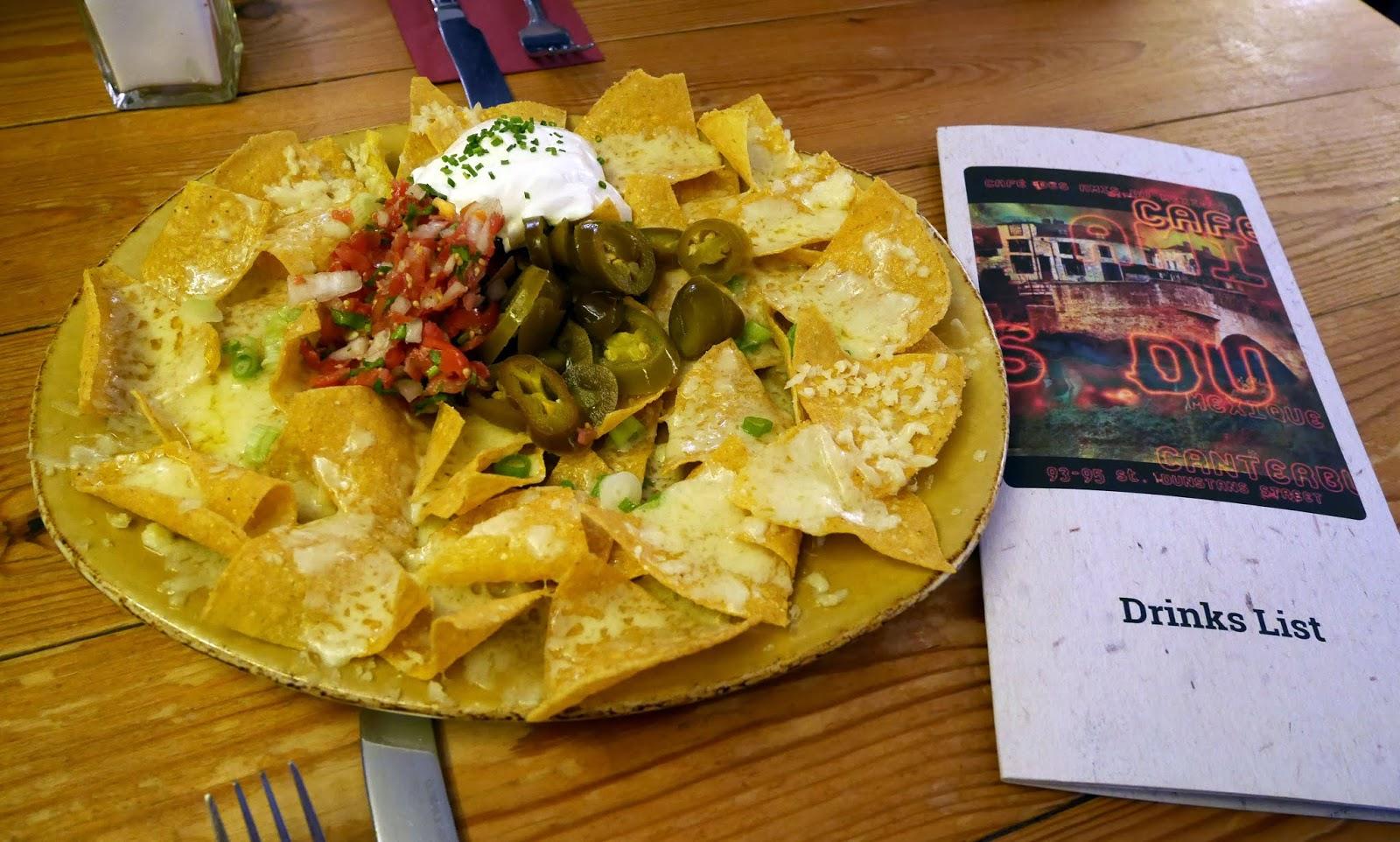 Nachos for starter at Cafe des Amis, Canterbury