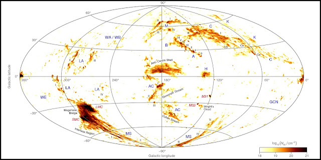 An all-sky map showing the location and column density of neutral hydrogen gas belonging to the high-velocity clouds of the Milky Way and two neighbouring galaxies, the Large and Small Magellanic Clouds. Credit: ICRAR.