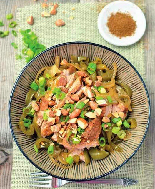 5-Spice Pork with Scallions & Almonds