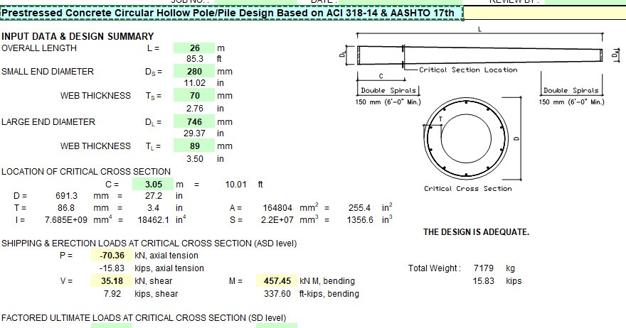 prestressed concrete circular hollow pole  pile design based on aci 318