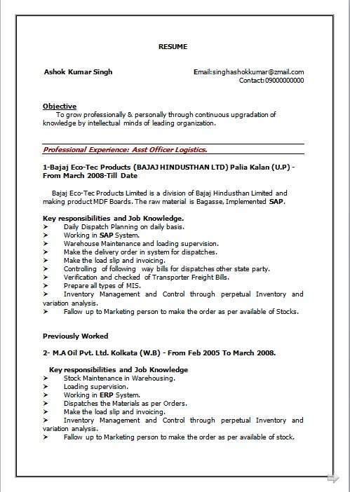 RESUME BLOG CO Resume Sample of BCom working as Assistant Officer  Logistic having 7 years of
