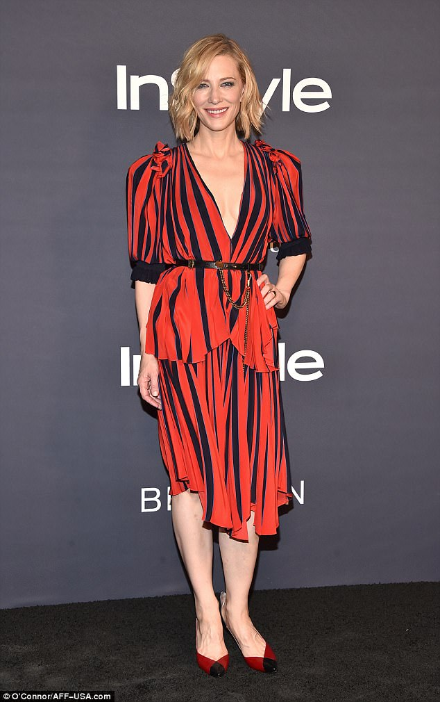 Cate Blanchett bares cleavage in striped dress at the 2017 InStyle Awards in LA