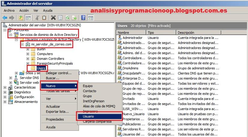 Análisis y Programación: Crear usuarios de Active Directory de cara ...