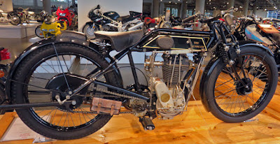 Motorcycle of the 1920s on display in museum.