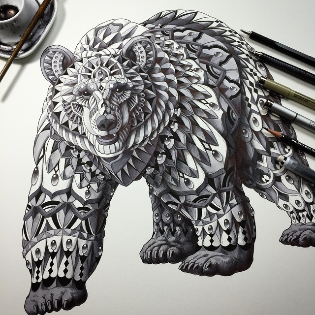 11-Grizzly-Bear-Ben-Kwok-Ornate-and-Intricate-Animal-Drawings-www-designstack-co