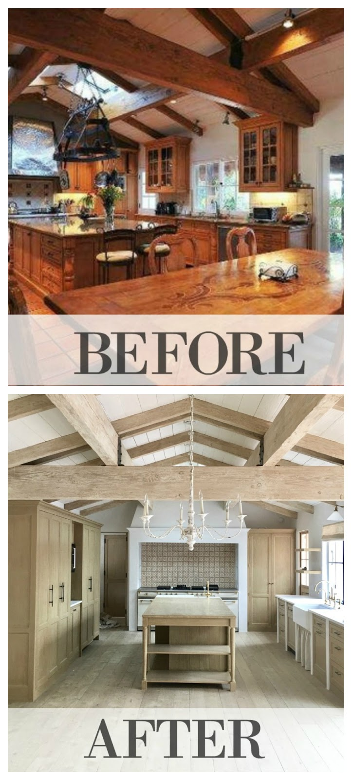 Before and after renovation modern farmhouse Malibu Giannetti Home