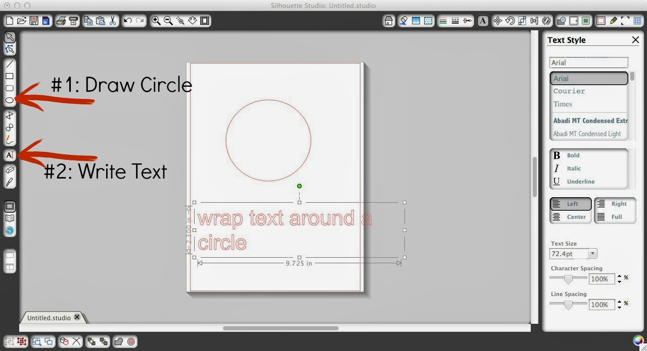 Text, curve, Silhouette tutorial, Silhouette Studio, draw an ellipse