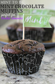 Looking for a new recipe? Our Mint To Be mint chocolate muffins are PERFECT -- and so easy to make too. There's no butter or eggs ... or, really, anything that makes baking a little bit of a pain!  Get the recipe AND a FREE printable for the flags at www.abrideonabudget.com.