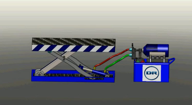 3D Animation of Small Hydraulic Scissor Lift Operating