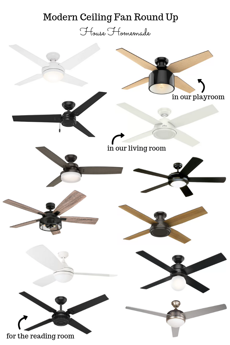 Ceiling fans are absolutely necessary in the south so I did a round up of my favorite modern fans so we can get ready for the warmer months ahead! | House Homemade