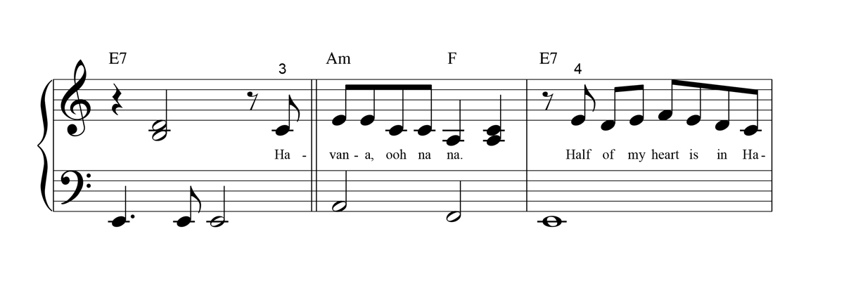Big-Note Piano Sheet Music Notation Sample