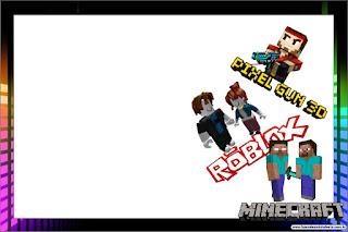 Pixel Gum 3D, Roblox y Minecraft: Invitaciones para Imprimir Gratis.