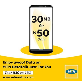 How To Get 30MB For ₦50 On MTN Nigeria