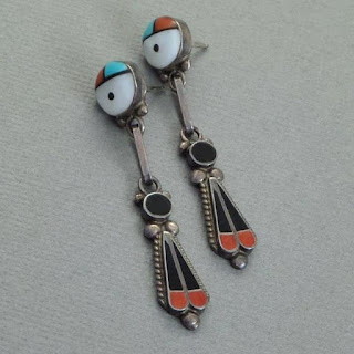 SIGNED Vintage Native American ZUNI Turquoise Earrings Inlay Sunface Sterling Kachina - Years After
