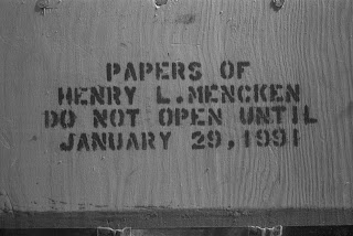 "A wooden box printed with ""Papers of Henry L. Mencken do not open until January 29, 1991."""