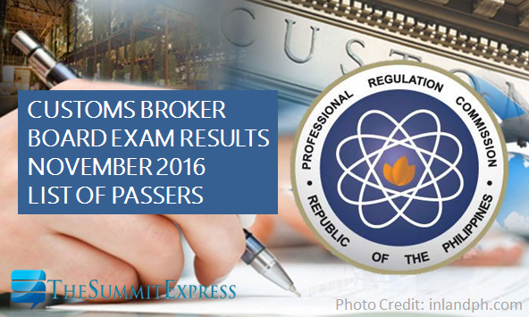 Customs Broker board exam results November 2016