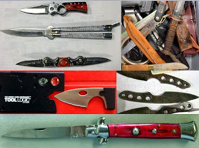(Left to Right - Top to Bottom) Three Knives (PHL), Multiple Knives (BWI), Credit Card Knife (BWI), Throwing Knives (SAN), Switchblade (BWI)