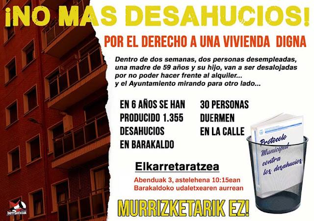 Cartel de Berri-Otxoak sobre los desahucios en Barakaldo