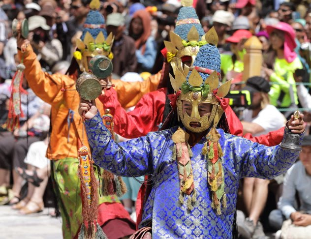 A stunning blue Dakini dancer during the Hemis Monastery Festival 2016