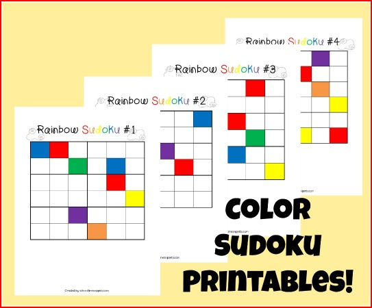 graphic about Printable Sudoku for Kids titled Colour Sudoku Puzzles for Young children 4 Printable Board Online games